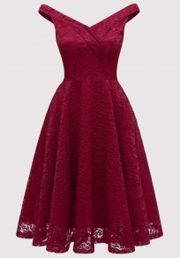 Burgundy Lace Draped Backless Deep V-neck Elegant Party Midi Dress