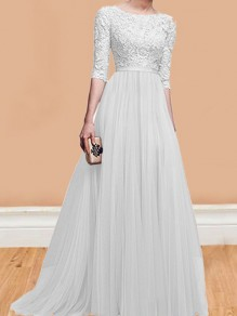 9a4bade3 White Patchwork Lace Pleated Round Neck Elbow Sleeve Wedding Gowns Maxi  Dress