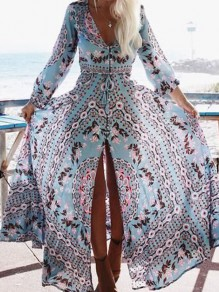 Light Blue Gypsy Floral V-neck Long Sleeve Boho Beach Maxi Summer Dress