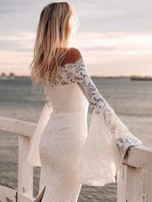 White Floral Lace Boat Neck Fashion Midi Dress