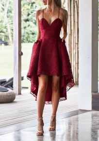 Burgundy Lace Pleated Pockets Swallowtail Spaghetti Strap High-Low Homecoming Party Midi Dress