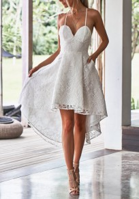White Lace Pleated Pockets Swallowtail Spaghetti Strap High-Low Homecoming Party Midi Dress