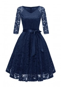 Navy Blue Draped Lace Sashes A-Line V-neck Elegant Party Midi Dress
