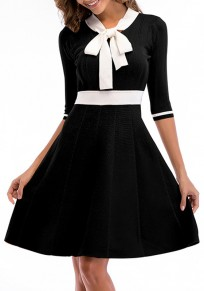 Black Draped Bodycon Bow Collar Office Worker/Daily Elegant Midi Dress