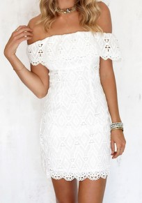 White Patchwork Lace Zipper Boat Neck Short Sleeve Mini Dress