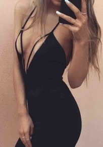 Black Condole Belt Cut Out Plunging Neckline Fashion Mini Dress
