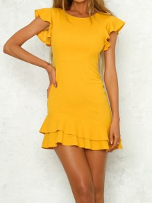Yellow Ruffle Irregular Zipper Round Neck Casual Mini Dress