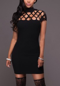 Black Cross Cut Out Round Neck Fashion Mini Dress