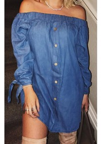 Dark Blue Single Breasted Bowknot Off Shoulder Backless Party Casual Mini Dress
