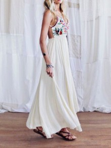 White Floral Backless Draped Spaghetti Strap High Waisted V-neck Mexican Bohemian Beach Maxi Dress