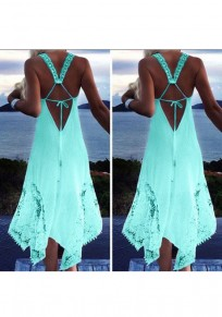 Green Patchwork Lace Tie Back Irregular Round Neck Mini Dress