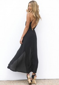 Black Plain Condole Belt Irregular V-neck Sleeveless Fashion Midi Dress
