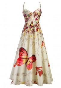 Yellow Flowers Butterfly Print Draped Spaghetti Strap Backless V-neck Party Midi Dress