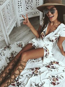 White Floral Irregular Sashes V-neck Fashion Maxi Dress