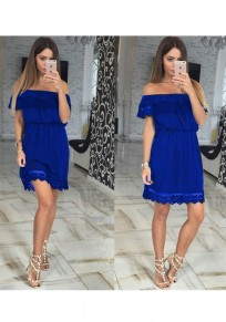 Blue Patchwork Lace Cut Out Boat Neck Sweet Mini Dress