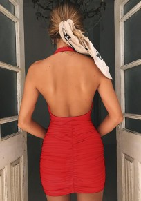 Red Ruffle Backless V-neck Sleeveless Fashion Mini Dress