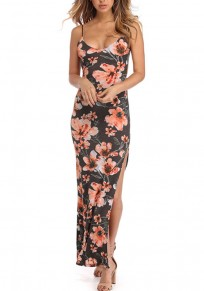 Dark Grey Floral Condole Belt Fashion Maxi Dress