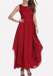 Burgundy Draped Lace Backless Banquet Elegant Party Maxi Dress