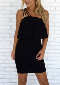 Black Ruffle Asymmetric Shoulder Off Shoulder Backless Bodycon Party Mini Dress