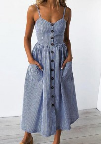 Dark Blue Striped Single Breasted Pockets V-neck Casual Bohemian Beach Midi Dress
