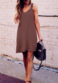 Coffee Condole Belt V-neck Sleeveless Fashion Mini Dress