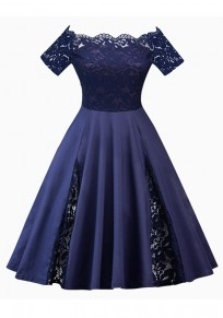 Navy Blue Patchwork Lace Pleated Off Shoulder Tutu Elegant Party Midi Dress