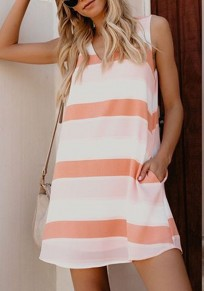 White Striped Pockets V-neck Casual Going out Mini Dress