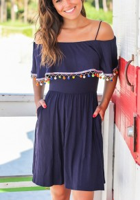 Blue Patchwork Pompons Spaghetti Strap High Waisted Pockets Off Shoulder Cute Mini Dress