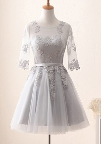 Grey Grenadine Draped Lace Tutu Long Sleeve Bridesmaid Banquet Elegant Party Mini Dress
