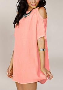 Pink Plain Cut Out Round Neck Short Sleeve Fashion Mini Dress