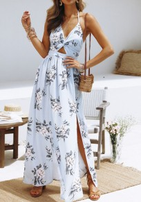 Light Blue Floral Tie Back Cut Out Pleated V-neck Maxi Dress