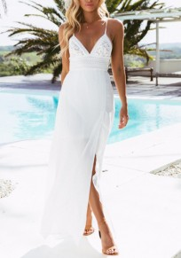 White Lace Side Slit Spaghetti Strap Flowy Lace-up Deep V-neck Bohemian Maxi Dress