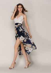 Black Floral Cross Back Irregular V-neck Midi Dress