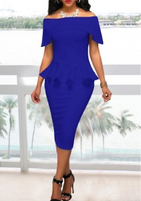 Royal Blue Pleated Off Shoulder Peplum Bodycon Elegant Church Banquet Party Midi Dress