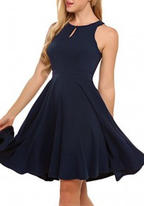 Navy Blue Cut Out Buttons Draped Office Worker/Daily Elegant Midi Dress