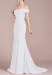 White Lace Draped Off Shoulder For Wedding Gowns Banquet Elegant Party Maxi Dress