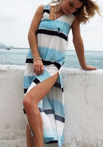 Light Blue Striped Cut Out Plunging Neckline Maxi Dress