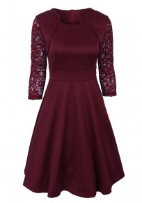 Burgundy Patchwork Lace Draped A-Line Banquet Elegant Party Midi Dress