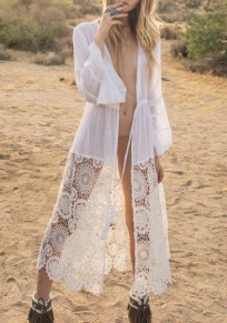White Patchwork Lace Drawstring Deep V-neck Bohemian Beach Cover Up Smock Maxi Dress
