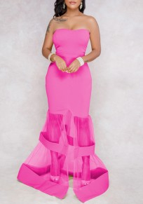 Rose Carmine Patchwork Grenadine Slit Off Shoulder Backless Elegant Banquet Party Maxi Dress
