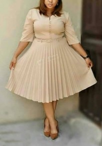 4b72e88a84 Apricot Pleated Single Breasted Belt Bow High Waisted Ruched Elegant Party Midi  Dress