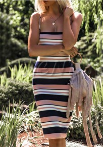 Pink Striped Spaghetti Strap Off Shoulder Backless Bodycon Casual Party Midi Dress