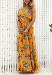 Yellow Floral Ruffle One Off Shoulder Flowy High Waisted Bohemian Party Maxi Dress