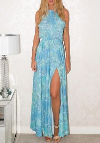 Light Blue Floral Drawstring Draped Slit Halter Neck Bohemian Maxi Dress
