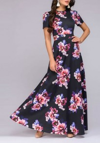Black Floral Print Cut Out Round Neck Short Sleeve Maxi Dress