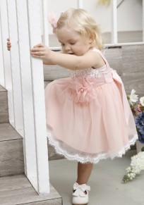 Pink Appliques Grenadine Pleated Bow Round Neck Children's Midi Dress