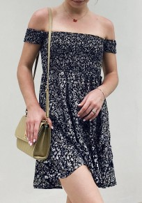 Navy Blue Floral Draped Off Shoulder Backless Bohemian Sweet Mini Dress