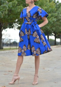 Royal Blue Tribal Floral Print Sashes Pleated High Waisted Elegant Party Midi Dress