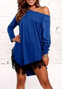 Blue Patchwork Tassel Round Neck Casual Mini Dress