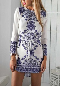 White Porcelain Print Sashes Round Neck Elegant Party Mini Dress